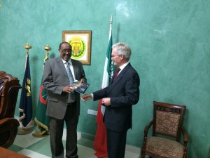 ID'S London director Paul Whiteway with Somaliland President H.E. Ahmed Silanyo in Hargeisa, Somaliland